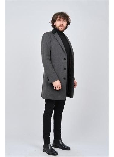 Avvenente Avvenente Erkek Düğmeli Klasik Yün Palto 0140178  Gri